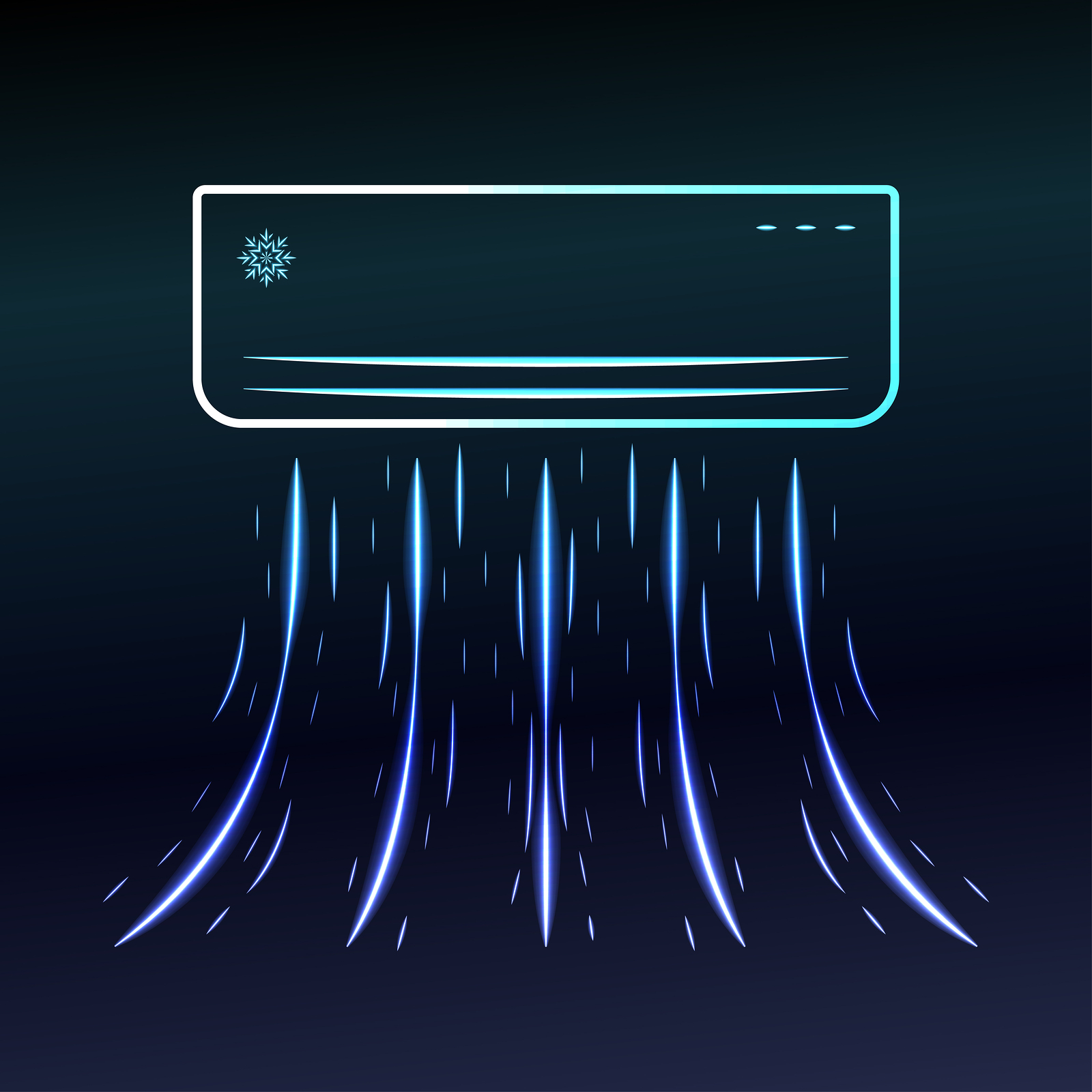 Air conditioner blows ice cool air on blue background Vector illustration.